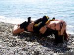 Sexy Lara Croft in wetsuit