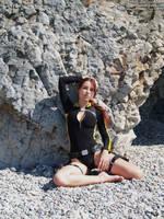 Lara Croft wetsuit - at the shore by TanyaCroft