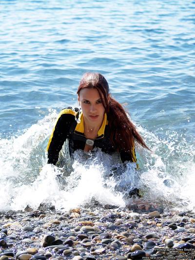 Lara Croft wetsuit - like a mermaid by TanyaCroft