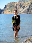 Lara Croft wetsuit - posing