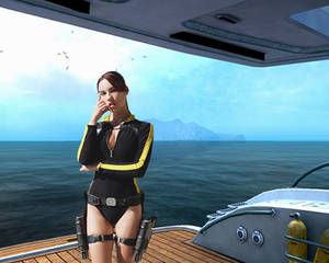Tomb Raider Wetsuit cosplay - on the yacht