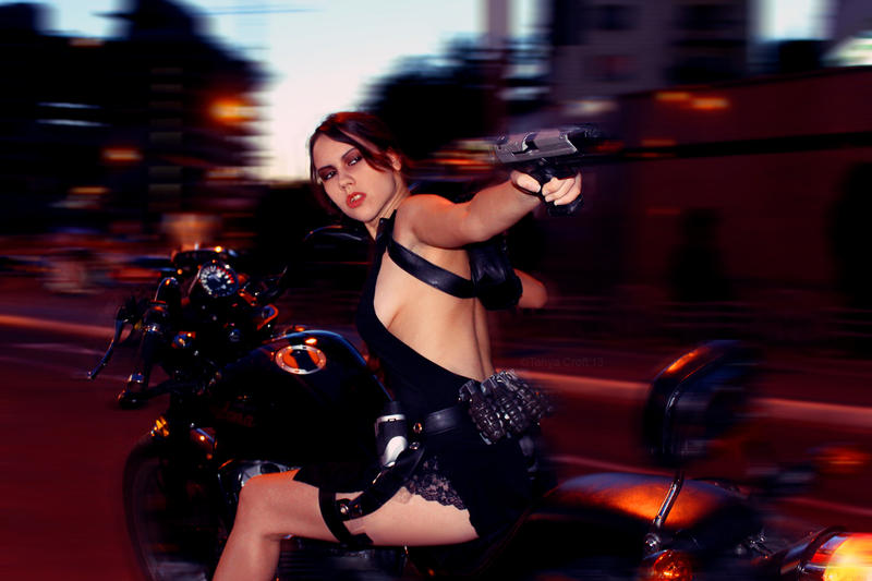Tomb Raider Lara Croft ripped dress - bike action by TanyaCroft