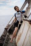 Lara Croft SOLA wetsuit - curious face
