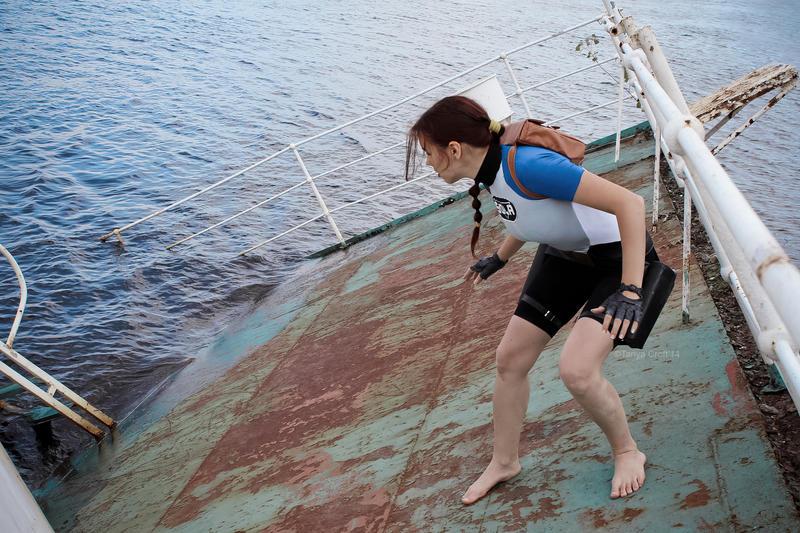 Lara Croft SOLA wetsuit - sliding by TanyaCroft