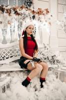 Christmas Lara Croft - on the bench by TanyaCroft