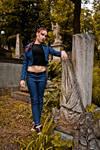 Lara Croft jeans cosplay - St. Aicard's Graveyard