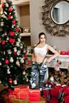 Christmas Lara Croft cosplay - among presents