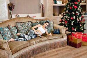 Christmas Lara Croft cosplay - lying by TanyaCroft
