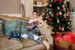 Christmas Lara Croft cosplay - relaxing