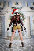 Christmas Lara Croft cosplay - back view by TanyaCroft
