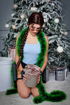 Christmas Lara Croft cosplay - happy