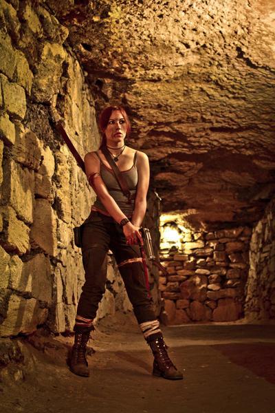 Lara Croft REBORN cosplay - with gun by TanyaCroft