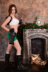 Christmas Lara Croft cosplay - fireplace by TanyaCroft