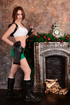 Christmas Lara Croft cosplay - fireplace
