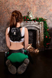 Christmas Lara Croft cosplay - back by TanyaCroft