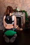 Christmas Lara Croft cosplay - back