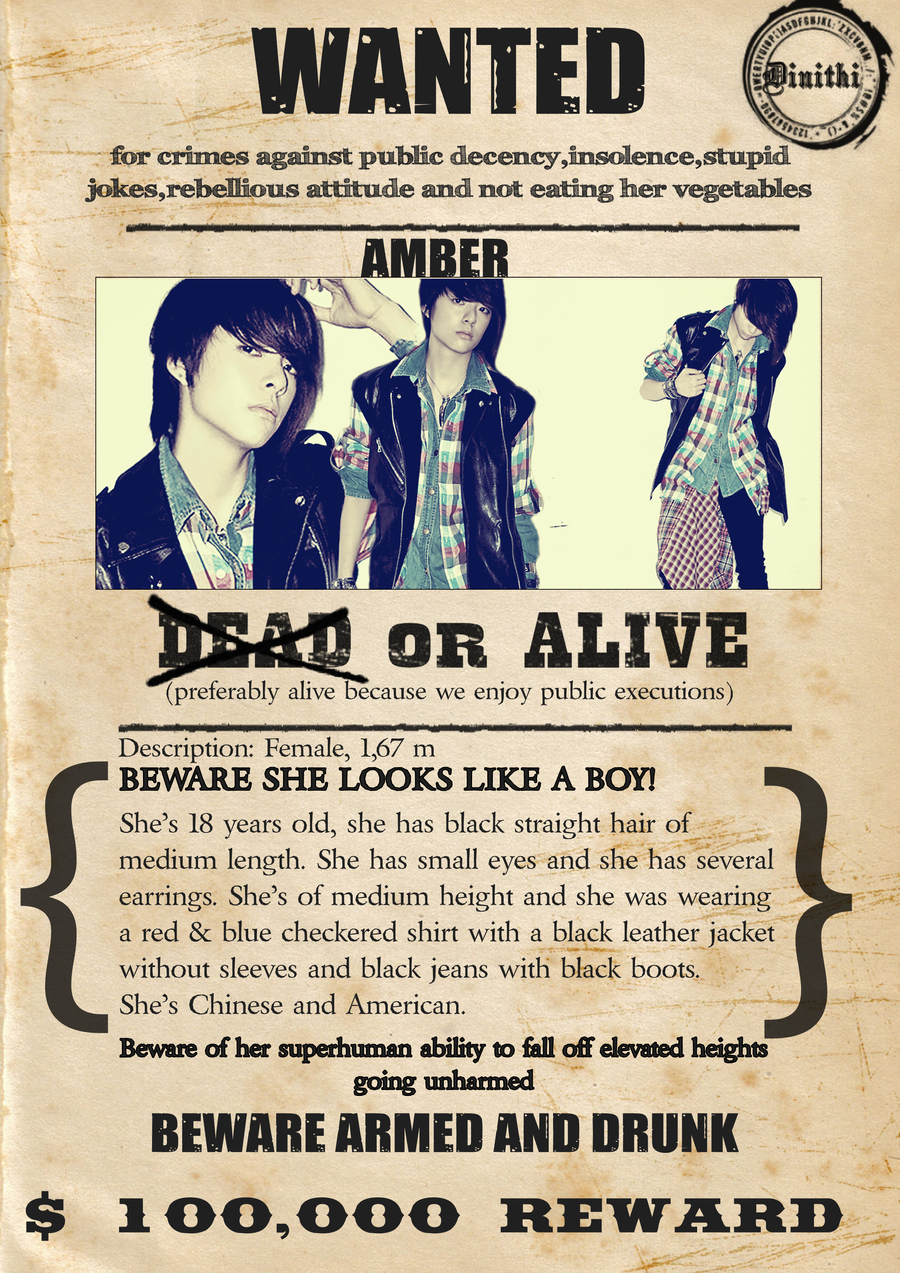 fx Amber Wanted Poster by xxmoshimoshi on DeviantArt – Examples of Wanted Posters