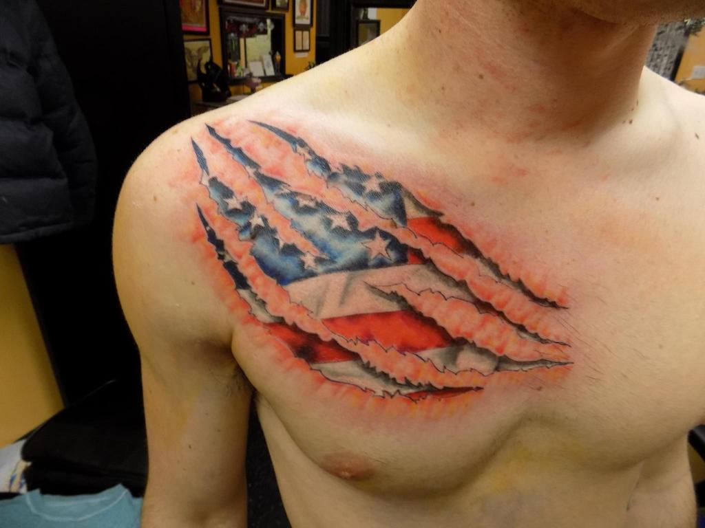 Torn Flesh American Flag by SputnikJr