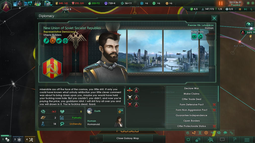 I piss off Premier Rik Latyeskov in Stellaris 4/4 by TheCommunistDragon