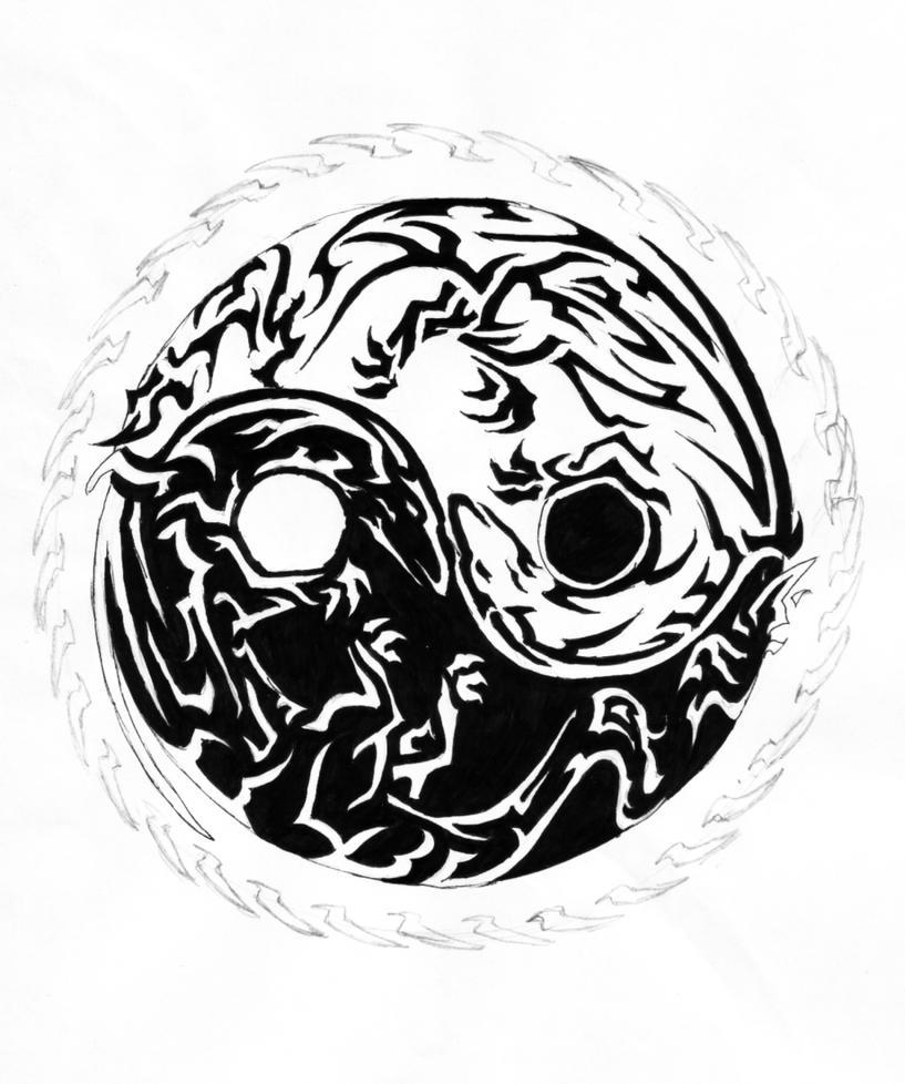 Tribal Yin Yang Dragon