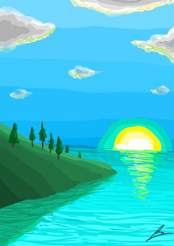 Simple Ocean Landscape by borockman on DeviantArt