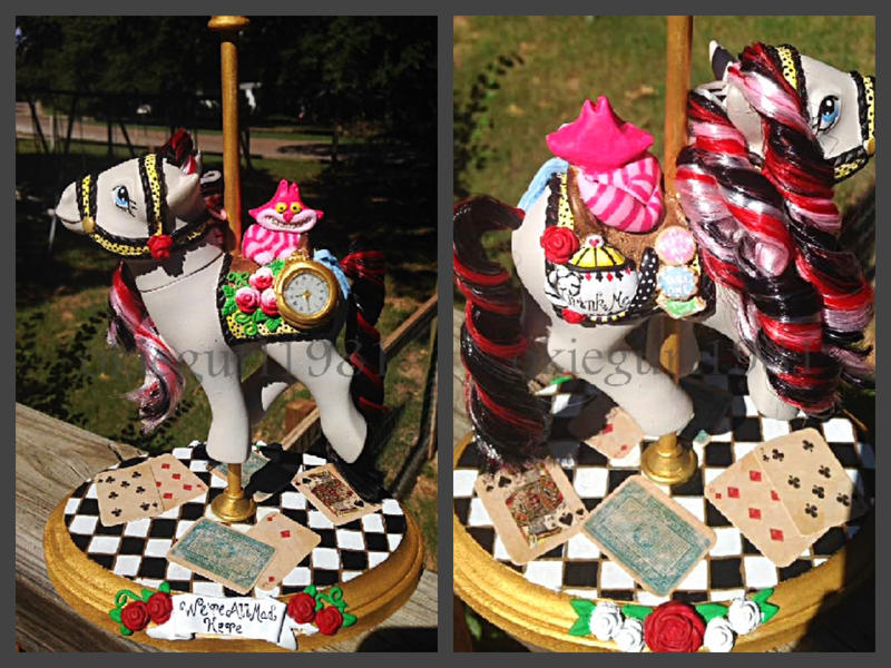 OOAK Custom Alice in Wonderland Carousel Pony by okiegurl1981