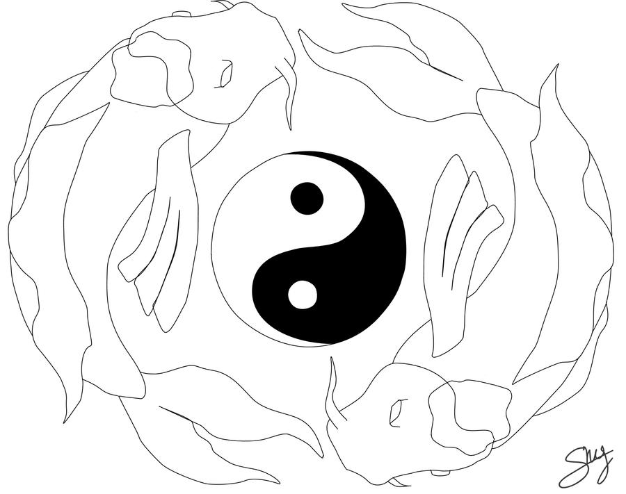 koi fishes yin yang line art by shylittleweirdo on. Black Bedroom Furniture Sets. Home Design Ideas