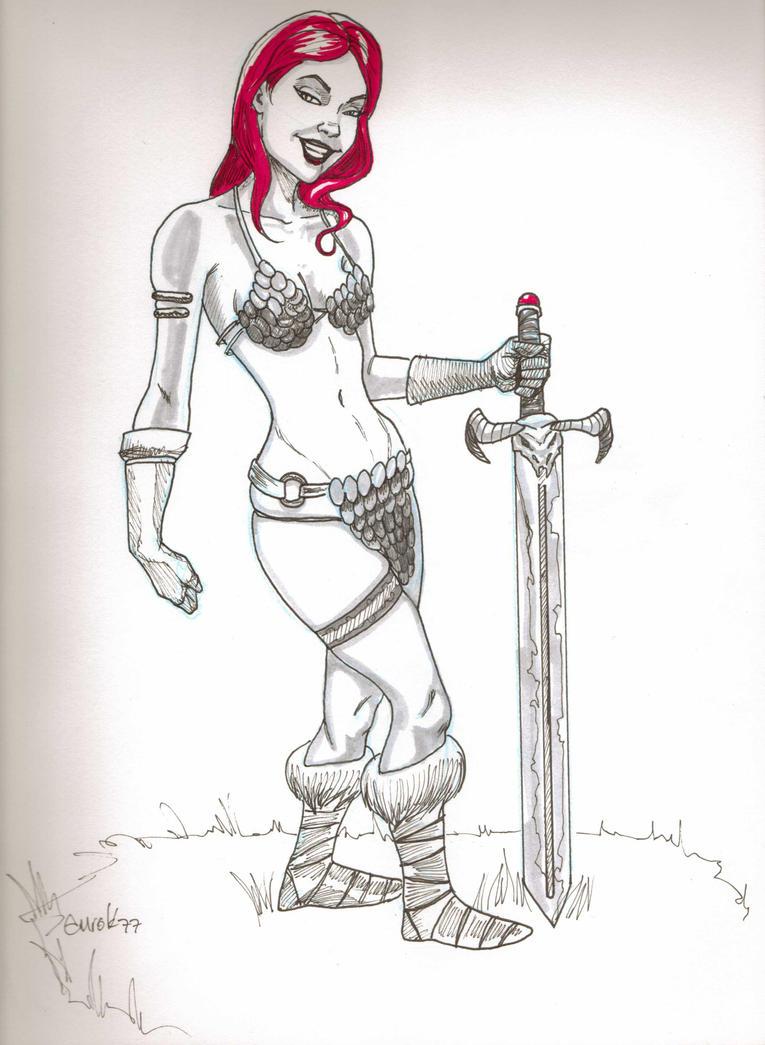 Red Sonja Sketch by EmanuelMacias