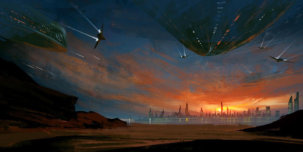 Sunset Invasion speed paint by surendrarajawat