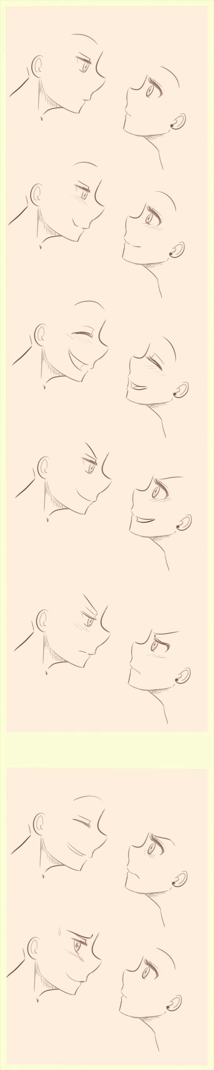 Anime/Manga Side profile expressions reference. by littlesomethings