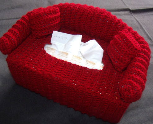 crochet couch tissue cover