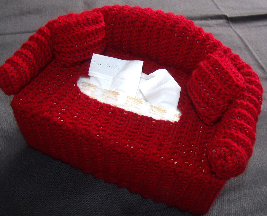 crochet couch tissue cover by Craftcove