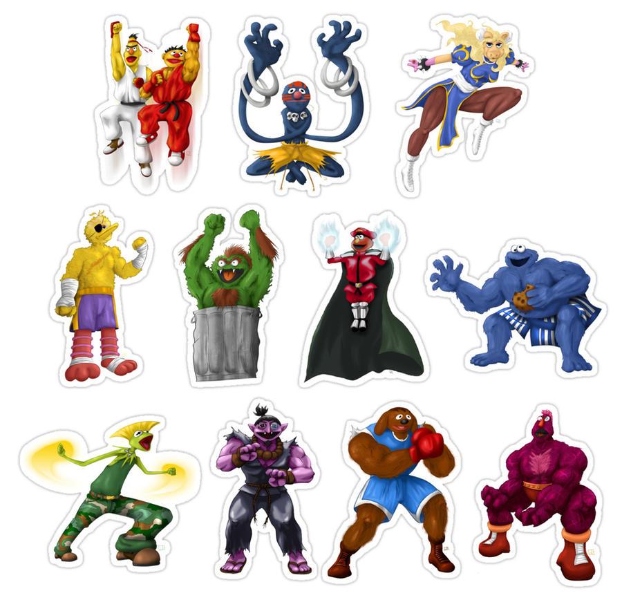 Sesame Street Fighter Stickers by gavacho13