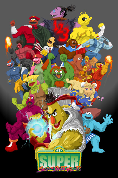 Super Sesame Street Fighter Poster