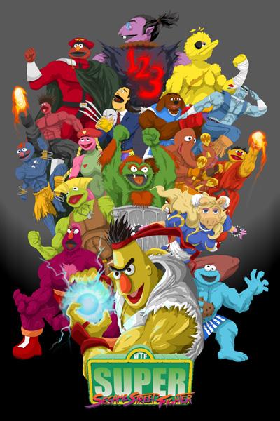 Super Sesame Street Fighter Poster by gavacho13