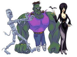 Mummy, Frankenstein, Elvira