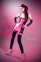 Model TerrorCat Latex-Dress (pink-black) by AmatorisLatexCouture