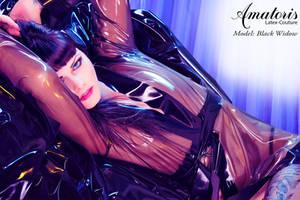 Black Widow Latex-Kimono (gown) 3 by AmatorisLatexCouture
