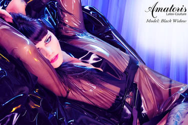 Black Widow Latex-Kimono (gown) 3 by AmatorisLatexCouture