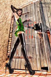 Black Widow Green-Latex-Dress (2) by AmatorisLatexCouture