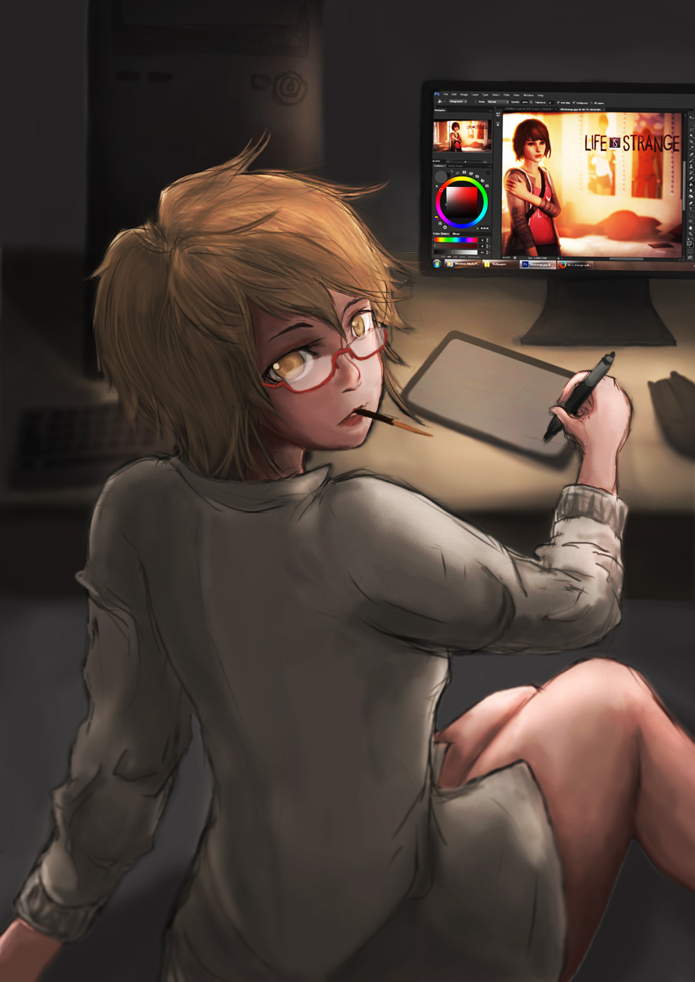 Drawing in the Night by artevoletia