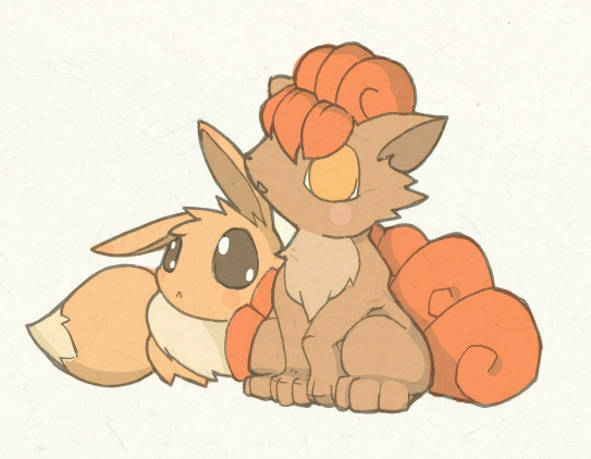 Eevee and Vulpix by KingdomT