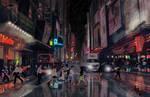 Big City Street - Night by theLethalRabbit