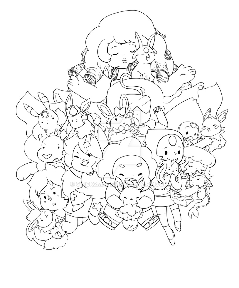 Line Art Universe : Steven universe and the eevees lineart by stick mate on
