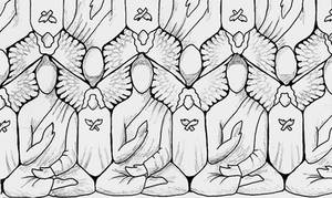 Buddhas + Angels Tessellating by popeyethecat