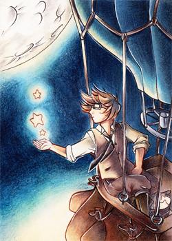 La voyage du montgolfiere - ACEO #45 by Zeolith