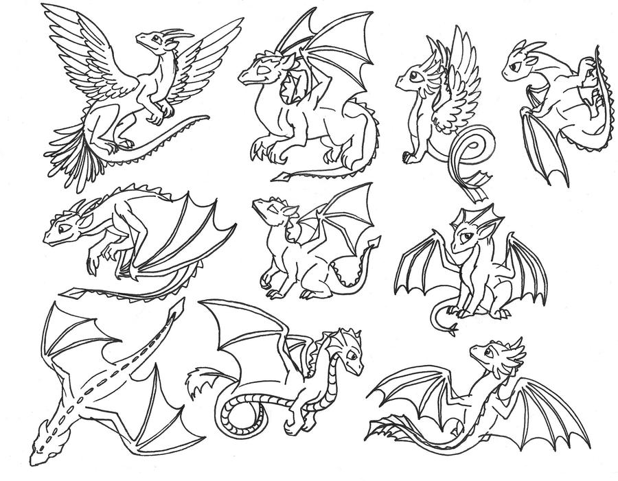 dragons cute drawings easy