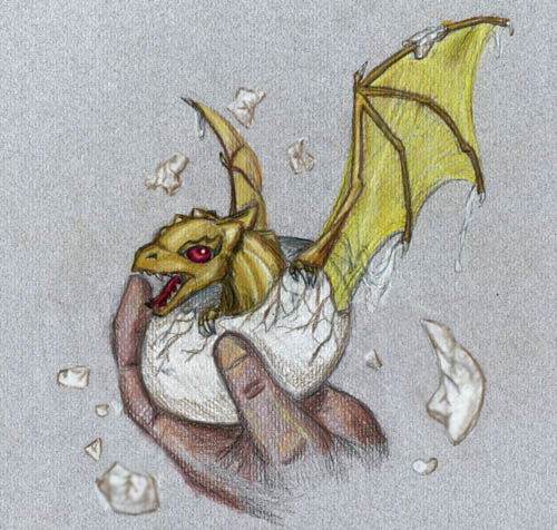 Even More Old Art - Hatching Gold Dragonet by Skylanth