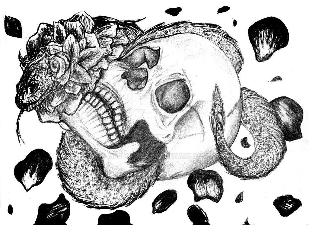 Flower Snake and Skull by MrJuniorer