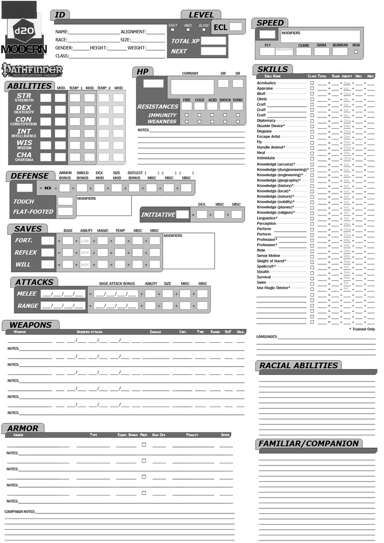 Pathfinder + D20 Modern character sheet Page 1 by Kenmurikumo on